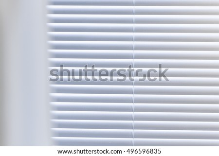 A white aluminum blind closeup at bathroom in hotel, seoul, korea.