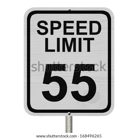 A white American road sign with words Speed Limit and 55 isolated over white, Speed Limit 55 Sign - stock photo