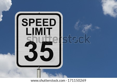 A white American road sign with words Speed Limit and 35 with sky background, Speed Limit 35 Sign - stock photo