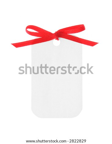 A white blank gift tag tied with red ribbon on white background. (Clipping Path included)