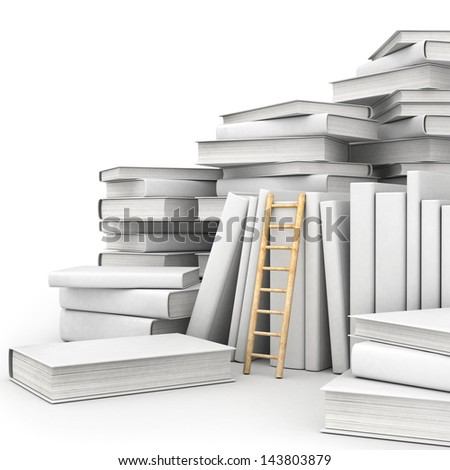 a white books with ladders isolated on white - stock photo