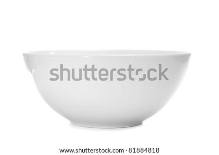 a white bowl on a white background - stock photo