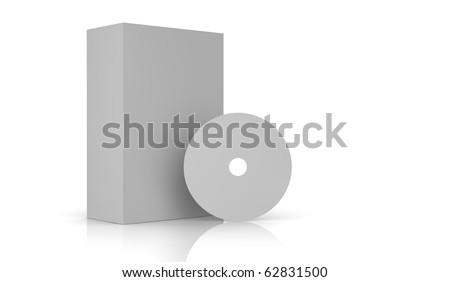 A white box and a white cd - stock photo