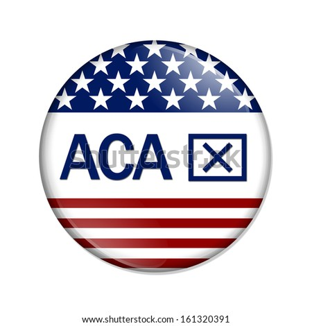 A white button with word ACA and thumbs up icon isolated on white, Affordable Care Act is not good - stock photo