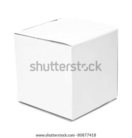 a white cardboard box on a white background - stock photo