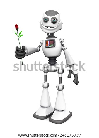 A white cartoon robot holding a rose and smiling. White background.