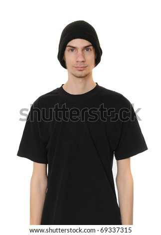 A white caucasain young adult wears a black beanie hat and a black casual t-shirt isolated on white background. - stock photo