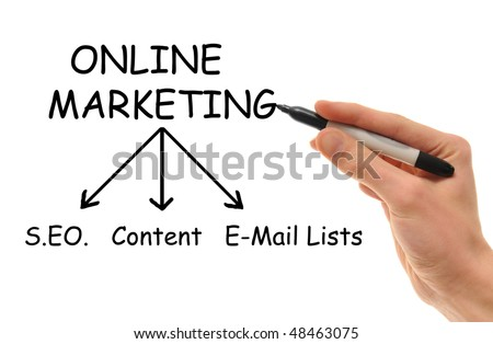 A white Caucasian hand holds a marker in hand writing down the various strategies of Online Internet Marketing. - stock photo