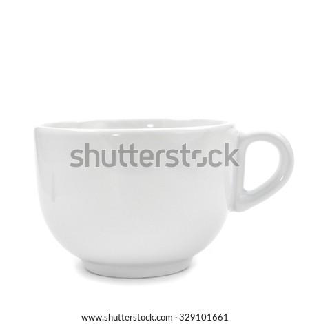 a white ceramic mug on a white background - stock photo