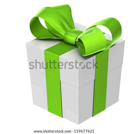 A white christmas present with a green bow. Isolated on a white background