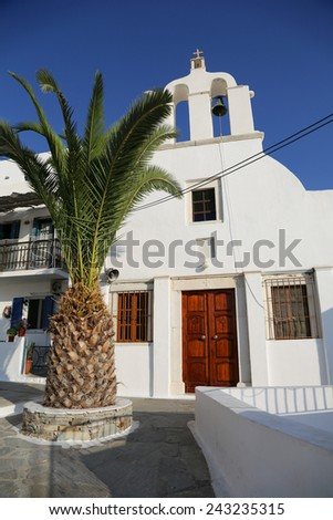 A white church in Chora at the Naxos island at the Cyclades of the Aegean sea in Greece - stock photo