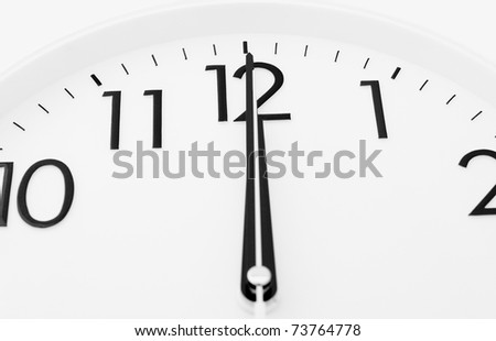 a white clock - twelve o'clock (midnight or midday) - stock photo