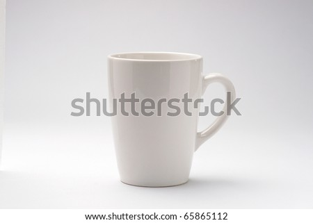 a white coffee cup on white background - stock photo