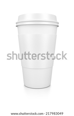 A white coffee to go isolated on a white background