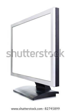 A white computer screen on a white background - stock photo