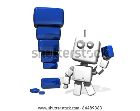 A white 3D funny Robot with a Blue Exclamation point made of Bright Bricks. - stock photo