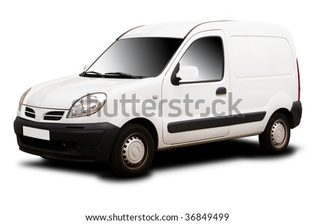 A White Delivery Van Isolated on White - stock photo