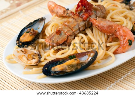 A white dish with spaghetti pasta and Sea Fruits and Shellfishes - stock photo