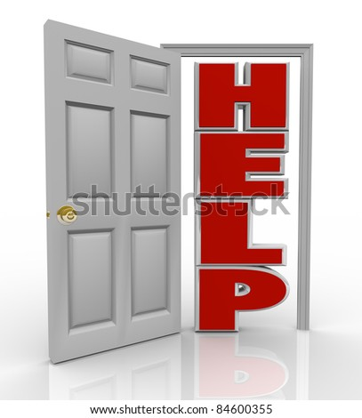 A white door opens to reveal the word Help symbolizing the support and assistance you can receive by opening up to a friend, colleague or counselor who can assist you in your needs - stock photo
