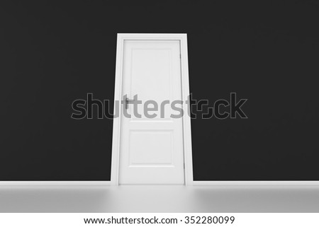 A white door with black wall, 3D render