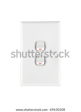 a white double light switch turned off