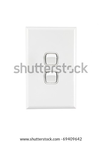 A white double light switch turned on - stock photo