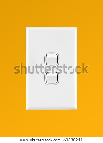 A white double light switch turned on