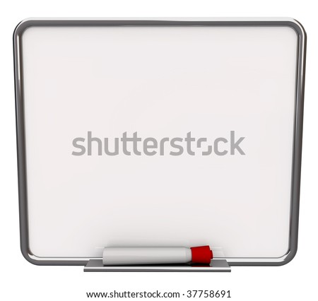 A white dry erase board with red marker, with plenty of blank copy space for your message - stock photo