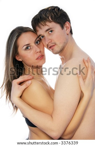 A white girl and  a white man standing together on a white background