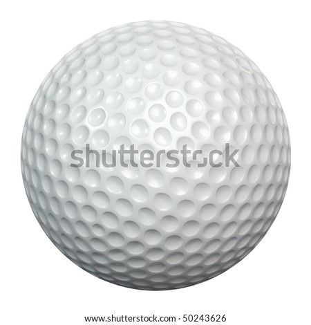 A white golf ball isolated on white background including clipping path