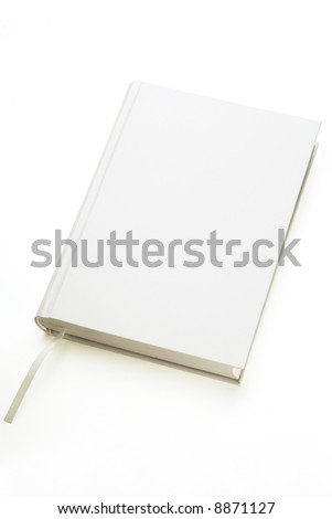 a white hard covered book on white background - stock photo