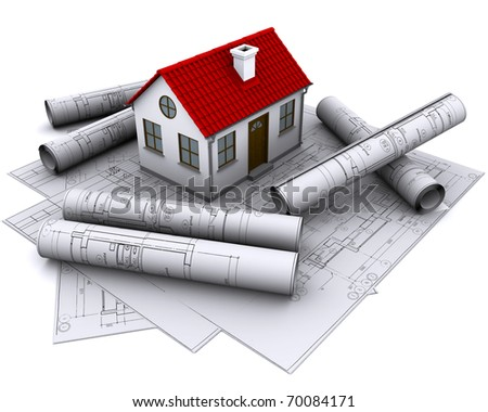 A white house with red roof on the building drawings - stock photo