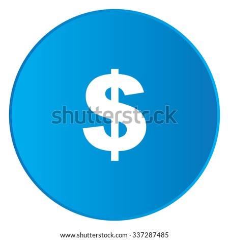A White Icon Isolated on a Blue Button - Dollar Sign