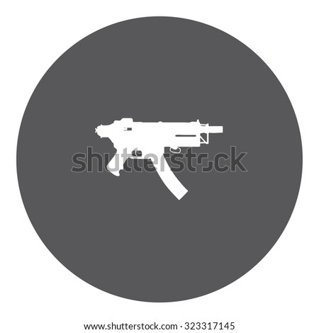 A White Icon Isolated on a Grey Background - MAchine Gun