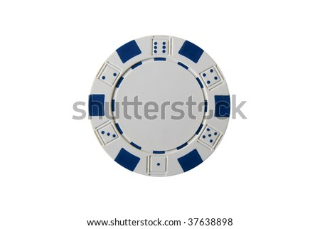A white isolated poker chip - stock photo
