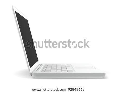 A white laptop isolated with white background.  Side view. - stock photo