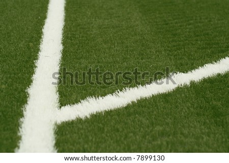 A white line on an green sports field.