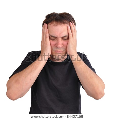 A white man has stress and worry and he is holding his hands on his head. Use it for a headache, money trouble or security concept. - stock photo