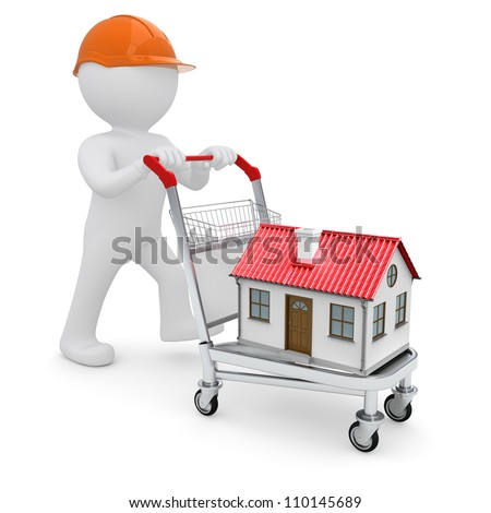 A white man in a helmet and a house on the trolley. Isolated on white background