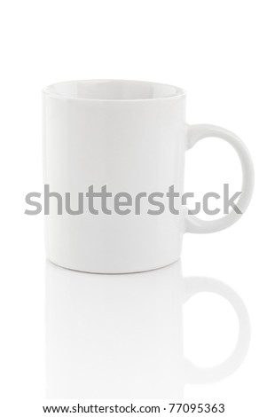 A white mug isolated on a white background, with reflections. - stock photo