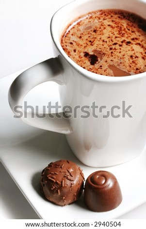 A white mug of hot chocolate, with chocolates on the side.  Yum!