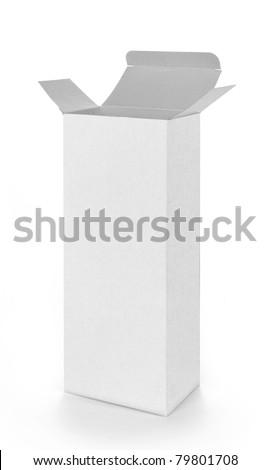 a white open empty box - stock photo