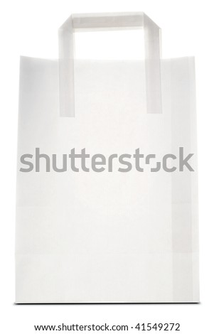 a white paper bag on white - stock photo