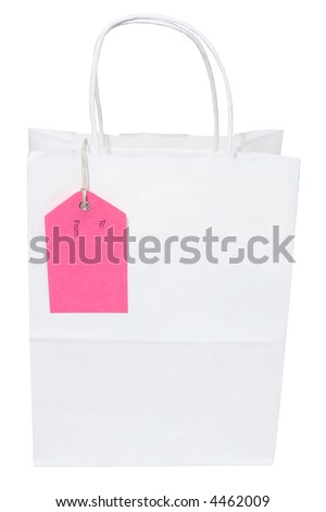 A white paper bag with pink label isolated on white with clipping path