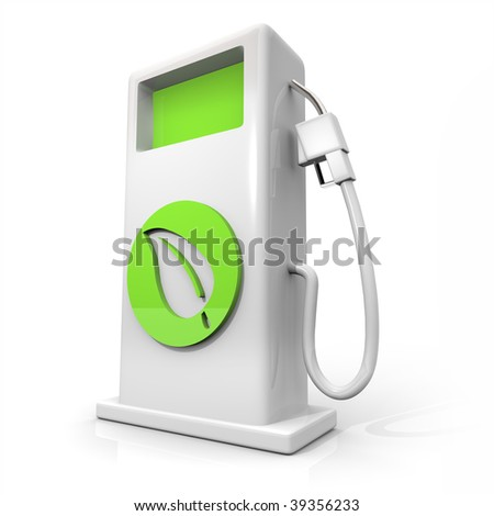A white pump of alternative fuel with a green leaf symbol on it symbolizing earth friendliness - stock photo