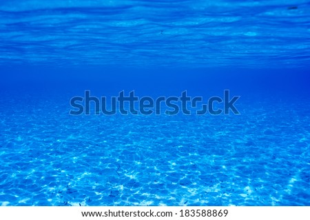 A white sand bottom in clear water at Maldives - stock photo