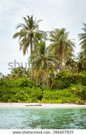 A white sandy beach and tropical vegetation on the island of Gosong Tengah, Karimunjawa, Indonesia. - stock photo
