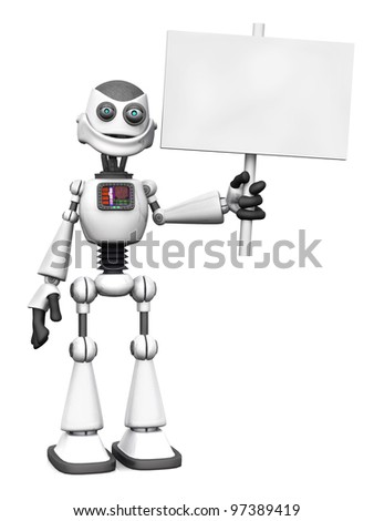 A white smiling cartoon robot holding a blank sign. White background. - stock photo