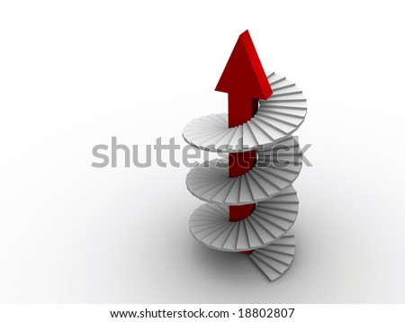 A white spiral ladder with red arrow  - rendered in 3d - stock photo