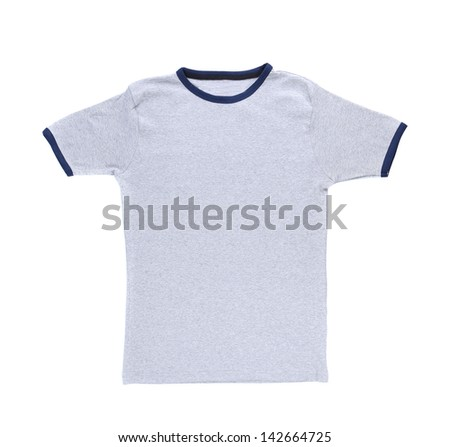 A white t-shirt isolated on a white background - stock photo